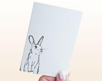 rabbit Letterpress note cards - small - A7 note cards - set of six