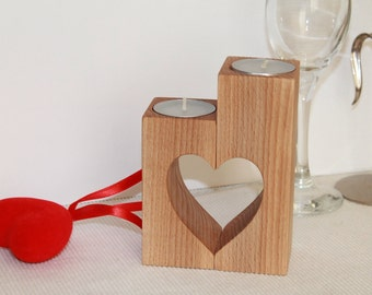 Wooden candle holder, Mothers day gift ideas, Wedding gift, Wedding candles decoration, Mothers day table decor, Tea Light Heart Holders