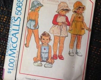 Toddler Size 3 Dress Jumper Romper Hat.  McCalls #5065 RARE Sewing Pattern