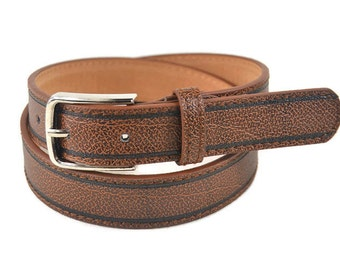 Boys Brown Leather Belt with Buckle