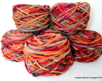 Limited Edition Handspun Hand dyed yarn Pure Bulky Chile Wool Knittin Multicolor Araucania Chunky Skein Burgundy Mossgreen Orange 100g 3.5oz