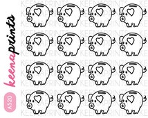 A520 | PIGGY Bank Doodle coloring Repositionable Stickers Perfect for Erin Condren Life Planner, Filofax, Plum Paper & other planner