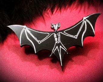 Bat Brooch, Laser Cut Jewelry, Acrylic Brooch, Plastic Jewelry, Gothic Brooch, Gothic Jewelry, Bat Jewelry, Black Brooch
