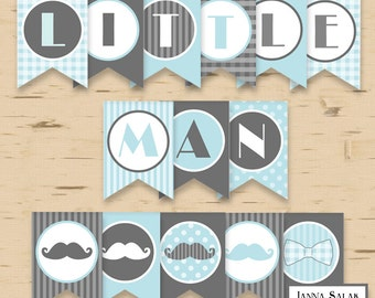 Little Man Birthday or Baby Shower Banner Mustache Party Printables Grey Blue DIY Printable INSTANT DOWNLOAD LM001 LMB01
