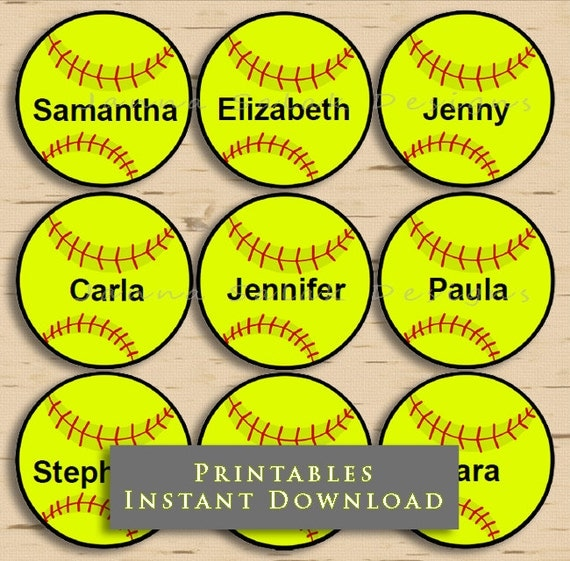"2.5"" Softball Printable Cupcake Toppers Tags With Editable ..."