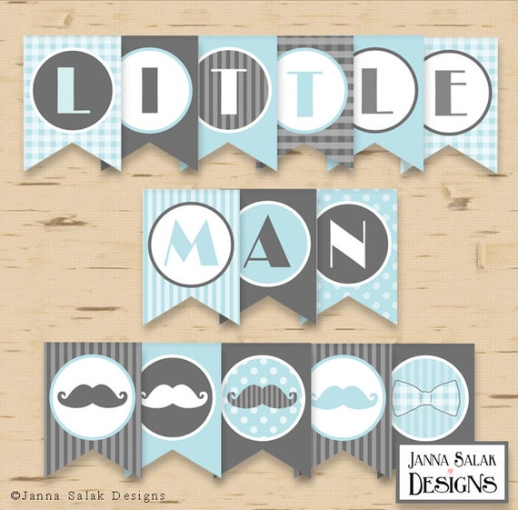 Little Man Birthday Or Baby Shower Banner Mustache Party