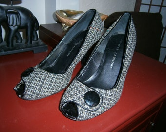 Women's Tweed Open Toe Heels