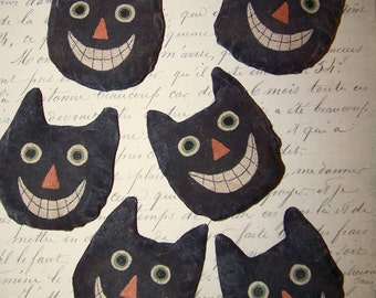 Six (6) Black Cat Head Ornaments - Vintage Style - Primitive - Halloween