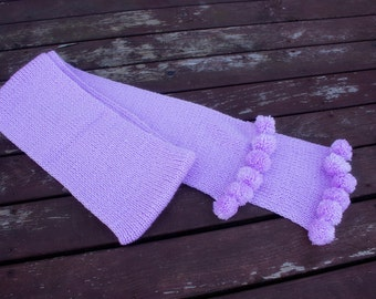 Handknitted Scarf with tassels, Winter Accessories, Handknit Light lilac Acrylic scarf, Extra long Scarf, Handmade Light Lilac Scarf