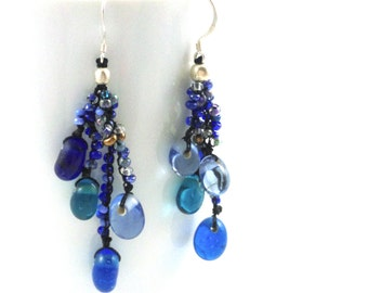Cool Blue Glass Bead Cluster Earrings