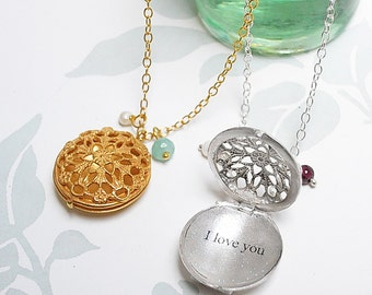 personalised filigree locket necklace by flowerie88