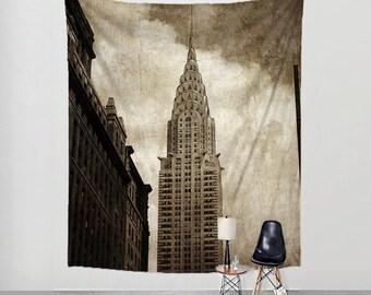 Photo Tapestry Chrysler Building New York Fabric Art Print Wall Hanging - NYC, Big Apple, Manhattan