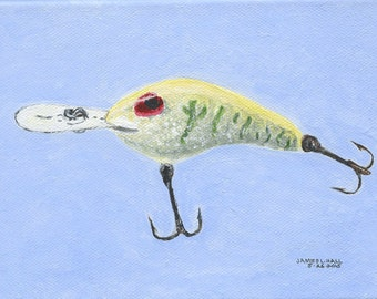 Fishing Lure Painting, Hard Bait Painting, Original Acrylic Painting, 5X7 Gallery Wrapped Canvas, Small Format Art, Fishing Tackle Art