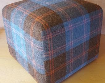 Cube stool measuring 42cm x 42cm x 39cm in a Blue 100% wool tweed