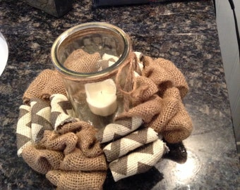 Candle Ring, Burlap, Shabby Chic Burlap/Chevron Candle Ring