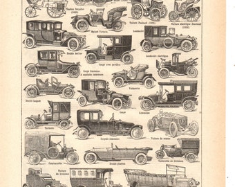 """Vintage """"sepia"""" Automobile illustration""""1930's French dictionary / Digital download"""