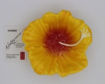 Yellow Hibiscus. Red accent Ceramic Flower Dish, Made In Hawaii, Food Safe