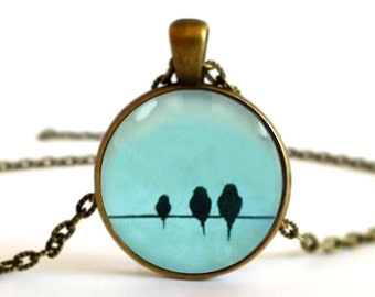 Silhouette Birds on a Wire Necklace Pendant or Brooch Pin