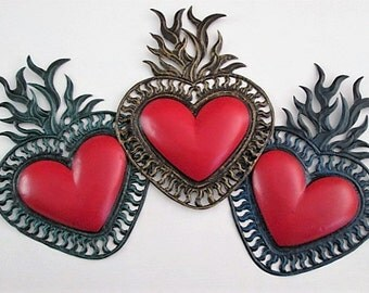 Painted Tin Heart with Flames - Sacred Heart , Mexican Folk Art, Wedding, Engagement, Anniversary