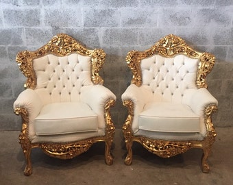 Rococo Throne Chair Settee White Leather Tufted Antique Italian Nail Head Gold Leaf ReUpholster French Louis XVI Baroque Furniture