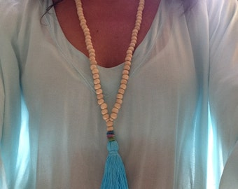 long necklace of wooden beads, fabric tassel pearl and turquoise / bohemian / boho