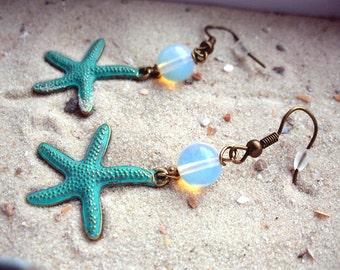 Starfish earrings, turquoise, bronze, verdigris, Moonstone-like beads, Sea Ocean Beach, also as clip-on earrings