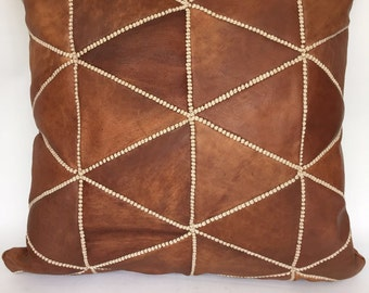 """Moroccan Handcrafted Leather Square Cushion Cover 60X60 cm - 24"""" Camel Brown, Luxurious Design"""