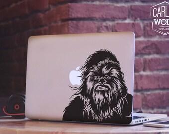 Macbook Star Wars decal/ Macbook vinyl decal/ Chewbacca Macbook decal