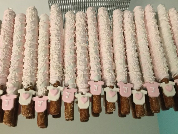 Light Baby Pink And White Baby Shower Chocolate Covered Pretzel Rods