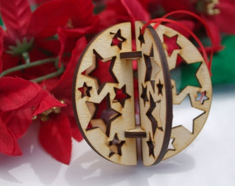3D Wooden Christmas Ornament, Stars, Laser-cut out