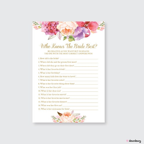 Floral Chic Who Knows The Bride Best Printable Games By