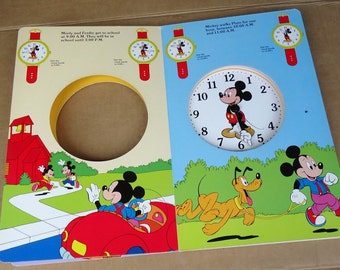 vintage mickey mouse watch book,kids time learning educational,disney clock book,scoobi doo