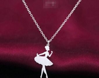 Cute & Dainty Ballet Ballerina Dancer Girl .925 Sterling Silver Adjustable Chain Pendant Necklace