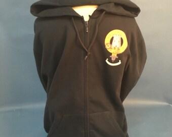 MacLean Clan Crest Zip Front Hoody. Navy, X Large