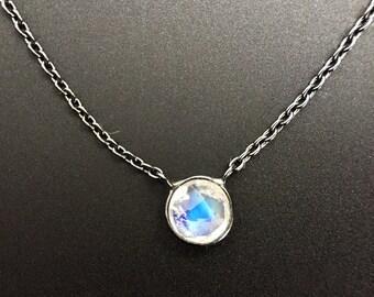 Blackened Petite Moonstone Charm Necklace