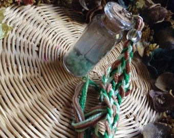 Emerald filled Glass Vial Pendant #1