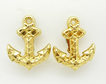 Rochas Paris  Gold  Anchor Style Clip On Earrings Signed Authentic