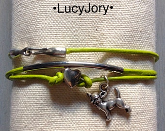 Chihuahua Leather Bracelet with Charms Pistachio Green