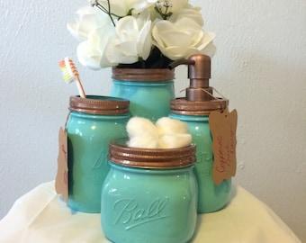 4 Piece Turquoise Mason Jar Bathroom Sets