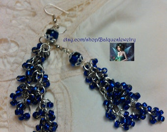 Colbalt Blue Dyna - Mites and Silver Earrings  E#45