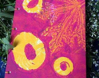 Handbound sketchbook/journal, bright pink and yellow, 2016