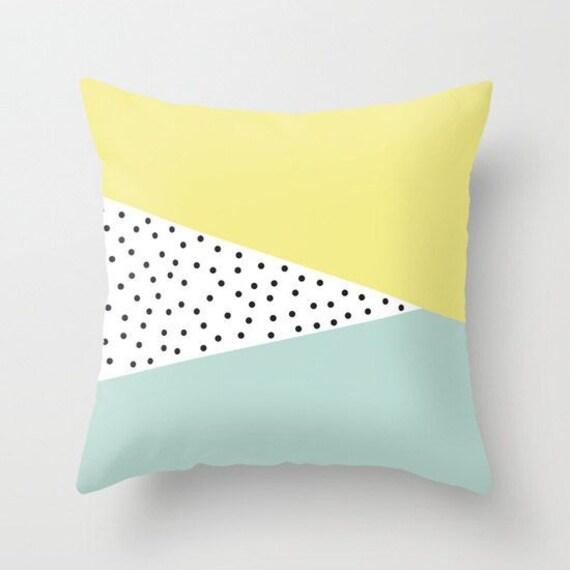 16 x 16 18 x 18 20 x 20 oreiller couverture : Triangles, pois, menthe, citron vert, jaune, coloré, scandinave, moderne, abstrait, coussin, minimaliste