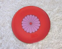 Vintage Mod Serving Tray Red Purple, Vintage Made in Japan CTO Lacquer Serving Tray, Vintage Decorative Tray, Vintage Orange Flower Tray