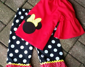 Minnie mouse clothing, Minnie mouse outfit, Disney outfit, Disney clothing, girls clothing, boutique clothing, Ruffle pants, Pants outfit