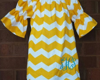 Monogrammed dress / Peasant dress / Fall Peasant dress, Girls dress, girls dress, Ready to ship, sizes 0/3m, 2, 3, 4, 5
