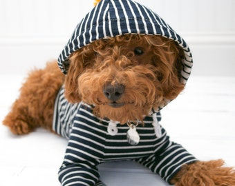 Dog Clothes, Navy Stripe Hoodie with Pom Pom and Pocket