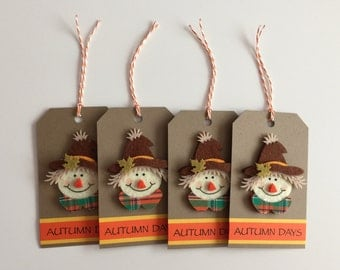 Handmade Set of 4 Scarecrow Tags, Scrapbooking, Card Making, Gift Tags