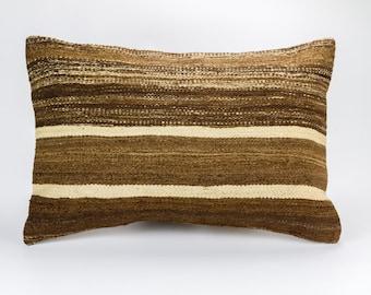 Vintage, wool hand woven Kilim pillow - Bohemian Cushion 16'' x 24'' (40 cm x 60 cm)