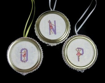 Cross Stitch Ballerina Initial Letter Ornament N O or P