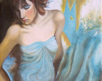 femininity in light-original oil painting-painting-colour-blue